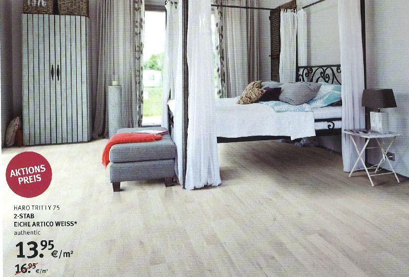 HARO Laminat 2-Stab Eiche Artico weiß, authentic, statt 16.95 €/m² nur noch 13,95 €/m2